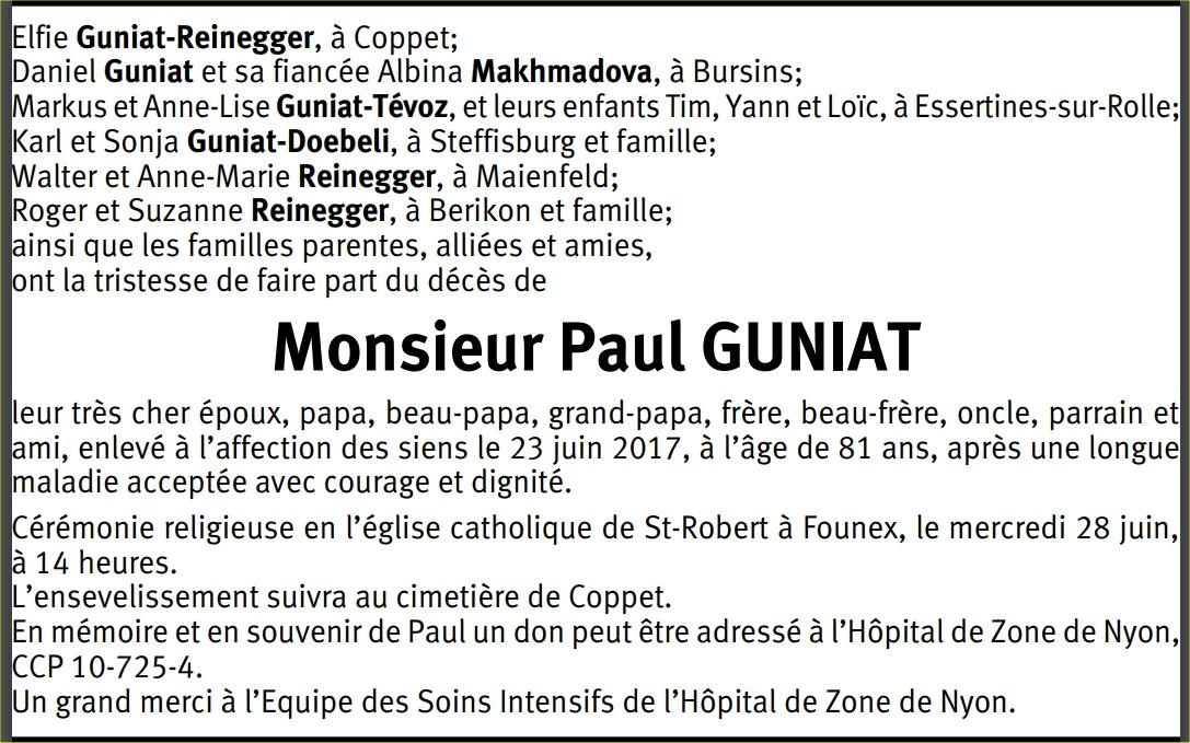 Paul GUNIAT : avis de la famille (TDG 27 juin 2017)