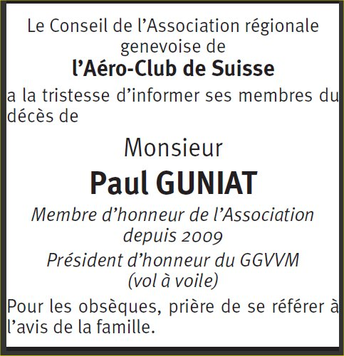 Paul GUNIAT : annonce AéCS Genève (TDG lundi 26 juin 2017)