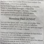 Paul GUNIAT : avis de la famille (LaCôte lundi 26 juin 2017)